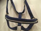 Edles,hochwertiges blaues Halfter mit silberfarbenen Kordel