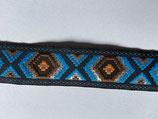 Indian Inka Bordüre/Webband, schwarz-blau-orange-braun
