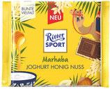 Ritter Sport chocolate con leche relleno de yogurt, trozos de avellana y miel