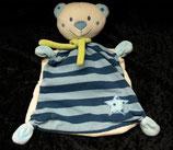 TOPOLINO   Schmusetuch Teddy / Bär  blau Streifen mit Stern