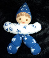 Sterntaler Vintage Rassel Puppe blau weiß Muster
