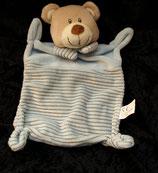 Nicotoy / Baby Club Schmusetuch Bär / Teddy hellblau Streifen