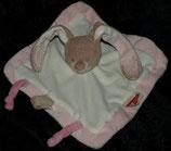 NATTOU Schmusetuch Hase mit Schnullerhalter rosa