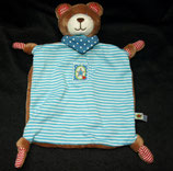 SPIEGELBURG Baby Glück Schmusetuch Teddy  Streifen blau / weiß