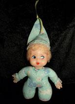 alte  Baby Puppe Baumwolle Zipfelmütze  hellblau türkis  Muster