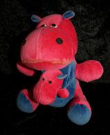 Sparkasse ? Hippo / Nilpferd mit Baby Nicki pink  80er Jahre