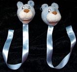 KIK Hund / Bär / Teddy hellblau Schnullerkette