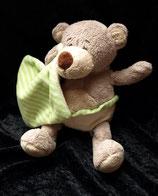 KIK Hund / Bär / Teddy grün Streifen mit Schmusetuch
