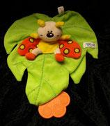 SIMBA Schmusetuch Schmetterling / Käfer auf Blatt  orange / gelb / Beißecke rrange