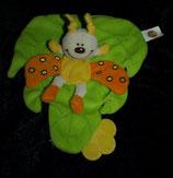 SIMBA / ABC Schmusetuch Schmetterling / Käfer auf Blatt  orange / gelb / Beißecke gelb