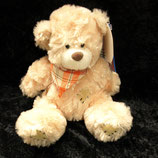 Kuschelwuschel / Karstadt Teddybär mit Flicken und Halstuch