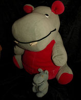 Sparkasse ? Hippo / Nilpferd Mutter mit Babys Nicki pink  80er Jahre RAR