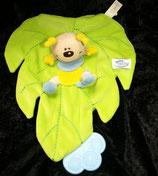 SIMBA Schmusetuch Schmetterling / Käfer auf Blatt  blau / gelb