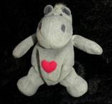 NICI Nilpferd / Hippo   Love  mit Herz & Reißverschluß