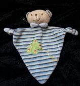KIK / C.A.T Schmusetuch Bär Teddy  blau gesteift