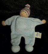 ALANA  Stoff Puppe Wichtel Zwerg Schmusetuch hellblau