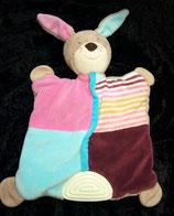 Topomini Schmusetuch Hase mit Beißecke türkis / rosa bordeaux