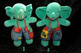 Sterntaler Elefant grün schon älter Nicki bunt Muster
