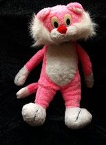 70er 80er Jahre Katze pink weiß Vintage 40 cm