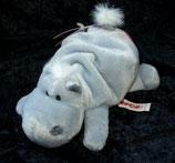 NICI Nilpferd / Hippo   Bud Belly / Herz / Love liegend grau 16 cm  NEU