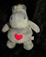 NICI Nilpferd / Hippo   Bud Belly / Herz / Love sitzend grau 12 cm