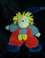 Sterntaler Schmusetier Clown / Harlekin rote Latzhise blau / weiß Shirt
