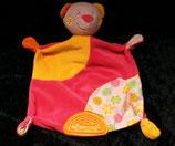 Baby Fehn  Schmusetuch Teddy / Bär Pink / gelb mit Beißecke