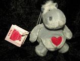 NICI Nilpferd / Hippo   Bud Belly / Herz / Love Schlüsselanhänger grau NEU