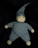 Sterntaler Puppe / Wichtel / Rasselpuppe gestreift Anzug blau / weiß