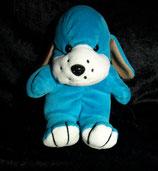alter Nicki Hund   sitzend türkis / blau   80 / 90er Jahre