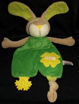 SIGIKID Schmusetuch Hase Knisterohren Beißecke grün 48597