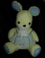 Knautschi / Puffalump  Hase gelb mit Kleid Punkte