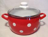 Kochtopf mit Glasdeckel rot/weiß Tupfen