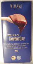 Kuvertüre Vollmilch, Bio, 200 g, Tafelformat, 100g=1,50€