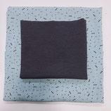 Stoffpaket Jersey - Gemustert Jersey blau / Bündchen anthrazit