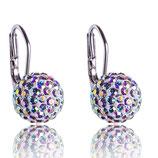 Marea Crystal - Ohrringe -  Pave Ball Anhänger Aurore Boreale