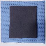Stoffpaket Jersey - Gemustert Jersey blau / Bündchen dunkel blau