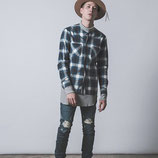 CHORD NUMBER EIGHT     COLLARLESS FLANNEL CHECK SHIRT