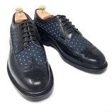 GORDON&BROS Wing tip shoes(Black-Navy dot)