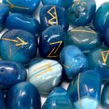 Runen Steinset in Beutel - Blue Onyx