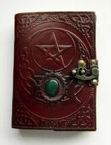 Buch der Schatten Pentagramm mit Triple Moon und Messingbeschlag