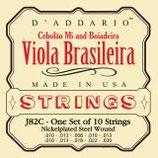 D'ADDARIO Viola Brasileira, Cebolaomi 10-String .010-.030 Nickelplated Steel Wound