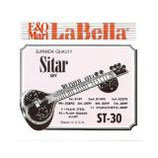 LA BELLA Sitar 7 fingered strings and 11 sympathetic strings, Plain Steel / Plain Goldine, Loop Ends
