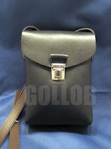Marschbuchtasche aus echtem schwarzen Leder