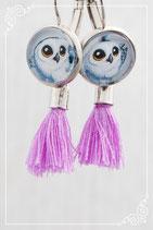 Hängeohrringe silber mit Quaste violett
