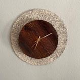 Uhr, Ø 31 cm, Grau und Antikholz