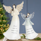 Engel mit Metallflügeln und Spruch