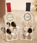 Weinflaschenhalter für 6 Flaschen natur rot (Abb. links)