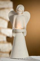 Engel mit Teelichtleuchter Stone