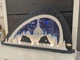Weigla Moderner LED Schwibbogen Seiffen grau/weiß